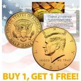 24K GOLD PLATED 2014 JFK Kennedy Half Dollar Coin w/Capsule - BUY 1 GET 1 FREE - bogo