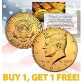 24K GOLD PLATED 2015 JFK Kennedy Half Dollar Coin w/Capsule - BUY 1 GET 1 FREE - bogo