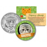 EXOTIC Cat JFK Kennedy Half Dollar U.S. Colorized Coin