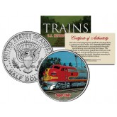 SUPER CHIEF TRAIN - Famous Trains - JFK Kennedy Half Dollar U.S. Colorized Coin
