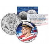 Lieutenant JOHN F KENNEDY - Flowing Flag - Colorized JFK Half Dollar U.S. Coin