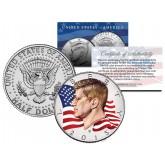 Colorized - FLOWING FLAG - 2015 JFK John F Kennedy Half Dollar U.S. Coin D Mint