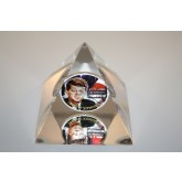 JOHN KENNEDY American Silver Eagle Colorized Coin Lucite Paperweight - Pyramid
