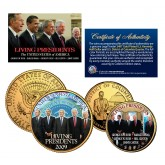 LIVING PRESIDENTS Quarter & JFK Half Dollar 2-Coin Set OBAMA BUSH CLINTON Jimmy CARTER 24K Gold Plated