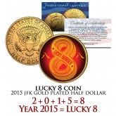 Chinese LUCKY NUMBER 8 Coin 24K Gold Plated 2015 JFK Half Dollar Coin U.S. Money
