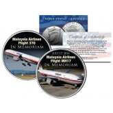 MALAYSIA AIRLINES FLIGHT 370 & MH17 In Memoriam JFK Kennedy Half Dollar US Colorized Coin