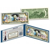 MERCURY SEVEN ASTRONAUTS Colorized $2 Bill U.S. Legal Tender - NASA The Original 7