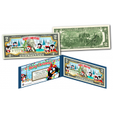 PENGUINS - MERRY CHRISTMAS XMAS Holiday Colorized Legal Tender U.S. $2 Bill with Certificate and Folio