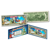 SANTA CLAUS - MERRY CHRISTMAS XMAS Holiday Colorized Legal Tender U.S. $2 Bill with Certificate and Folio