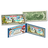SNOWMAN - MERRY CHRISTMAS XMAS Holiday Colorized Legal Tender U.S. $2 Bill with Certificate and Folio