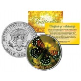 METAL MARK BUTTERFLY JFK Kennedy Half Dollar U.S. Colorized Coin
