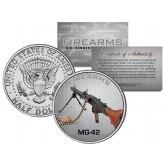 MG-42 Gun Firearm JFK Kennedy Half Dollar US Colorized Coin