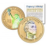 HOLOGRAM 2-sided 2008 JAMES MONROE Presidential $1 Dollar U.S. President Coin