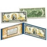 United States NAVY $2 Bill U.S. Genuine Legal Tender - GOLD LEAF Laser Line - MILITARY