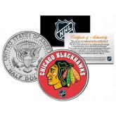 CHICAGO BLACKHAWKS NHL Hockey JFK Kennedy Half Dollar U.S. Coin - Officially Licensed