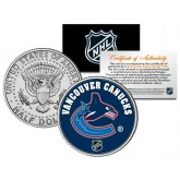VANCOUVER CANUCKS NHL Hockey JFK Kennedy Half Dollar U.S. Coin - Officially Licensed