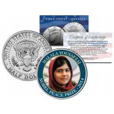 MALALA YOUSAFZAI - 2014 NOBEL PEACE PRIZE - Colorized JFK Kennedy Half Dollar U.S. Coin
