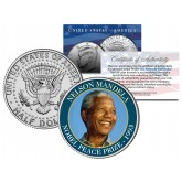 NELSON MANDELA - 1993 NOBEL PEACE PRIZE - Colorized JFK Kennedy Half Dollar U.S. Coin
