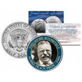 THEODORE ROOSEVELT - 1906 NOBEL PEACE PRIZE - Colorized JFK Kennedy Half Dollar U.S. Coin