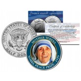 MOTHER TERESA - 1979 NOBEL PEACE PRIZE - Colorized JFK Kennedy Half Dollar U.S. Coin