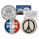 PRAY FOR PARIS Colorized 2015 JFK Half Dollar U.S. 2-Coin Set - WORLD PEACE France
