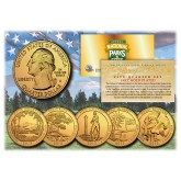 2013 America The Beautiful 24K GOLD PLATED Quarters U.S. Parks 5-Coin Set with Capsules