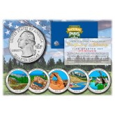 2014 America The Beautiful COLORIZED Quarters U.S. Parks 5-Coin Set with Capsules