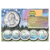 2014 America The Beautiful HOLOGRAM Quarters U.S. Parks 5-Coin Set with Capsules