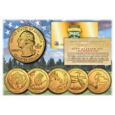 2015 America The Beautiful 24K GOLD PLATED Quarters U.S. Parks 5-Coin Set with Capsules