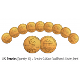 Lot of 10 - Uncirculated Genuine Coins 24K GOLD Plated 2016 U.S. LINCOLN SHIELD PENNIES - Lot of 10