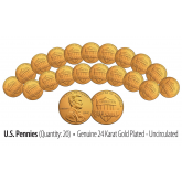Lot of 20 - Uncirculated Genuine Coins 24K GOLD Plated 2016 U.S. LINCOLN SHIELD PENNIES - Lot of 20