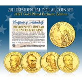 2011 Presidential $1 Dollar U.S. 24K GOLD PLATED - Complete 4-Coin Set - with Capsules