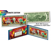 Lot of 10 - 2017 Chinese New Year * YEAR OF THE ROOSTER * POLYCROMATIC 8 COLORIZED ROOSTER'S Genuine Legal Tender U.S. $2 BILL - $2 Lucky Money with Blue Folio