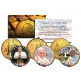 POPE FRANCIS - 2015 U.S. Visit - 24K Gold Plated State Quarters U.S. 3-Coin Set