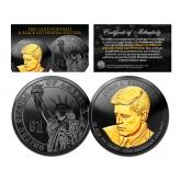 Black RUTHENIUM Clad John F Kennedy 2015 Presidential $1 Dollar U.S. Coin with 24K Gold Clad JFK Portrait - D Mint
