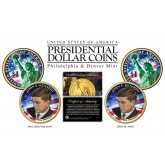 Colorized 2-sided JOHN F KENNEDY 2015 Presidential $1 Dollar 2-Coin Set - P&D MINT