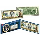 WILLIAM HOWARD TAFT * 27th U.S. President * Colorized Presidential $2 Bill U.S. Genuine Legal Tender
