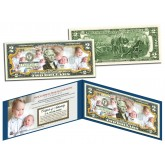 PRINCE GEORGE & PRINCESS CHARLOTTE of Cambridge Colorized $2 Bill U.S. Genuine Legal Tender - Official Portraits
