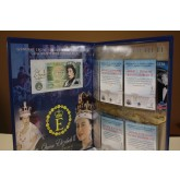QUEEN ELIZABETH II Colorized Bank of England One Pound Note & Card Set with Collectible Folio #/10,000