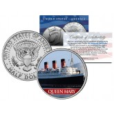RMS QUEEN MARY Ocean Liner - Colorized JFK Kennedy Half Dollar US Coin Collectible  - U.S. Legal Tender