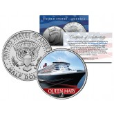 RMS QUEEN MARY 2 Ocean Liner - Colorized JFK Kennedy Half Dollar Coin Collectible - U.S. Legal Tender