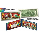 2017 Chinese New Year * YEAR OF THE ROOSTER * POLYCROMATIC 8 COLORIZED ROOSTER'S Genuine Legal Tender U.S. $2 BILL - $2 Lucky Money with Blue Folio