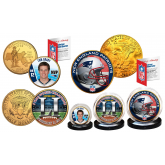 Historic 2016-17 SUPER BOWL 51 NFL CHAMPIONS New England Patriots Colorized / 24KT Gold Plated U.S. 3-Coin Set BRADY MVP
