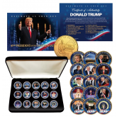 DONALD TRUMP Ultimate 15-Coin Colorized 24K Gold Plated Washington DC Quarter Set with Premium Display Box