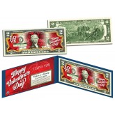 HAPPY VALENTINE'S DAY Keepsake Gift Colorized $2 Bill U.S. Genuine Legal Tender with Folio