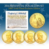 2014 Presidential $1 Dollar U.S. 24K GOLD PLATED - Complete 4-Coin Set - with Capsules