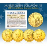 2015 Presidential $1 Dollar U.S. 24K GOLD PLATED - Complete 4-Coin Set - with Capsules