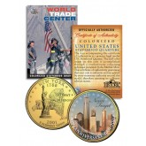 WORLD TRADE CENTER - 10th Anniversary - 9/11 NY State Quarter US Coin 24K Gold Plated WTC