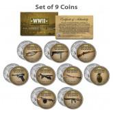 WORLD WAR II INFANTRY WEAPONS JFK Kennedy Half Dollar U.S. 9-Coin Complete Set