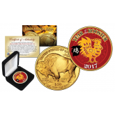 2017 Chinese New Year * YEAR OF THE ROOSTER * 24 Karat Gold Plated $50 American Gold Buffalo Indian Tribute Coin with DELUXE BOX